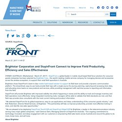 Brightstar Corporation and StayinFront Connect to Improve Field Productivity, Efficiency and Sales Effectiveness