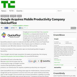 Google Acquires Mobile Productivity Company Quickoffice