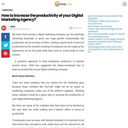 How to increase the productivity of your Digital Marketing Agency?