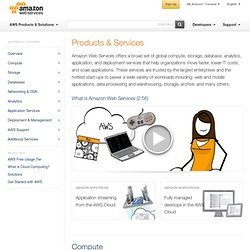 AWS Products and Services - Global Compute, Storage, Database, Analytics, Mobile, Application, and Deployment Services
