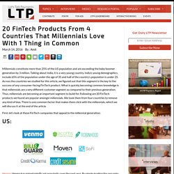 20 FinTech Products From 4 Countries That Millennials Love With 1 Thing in Common