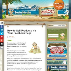 How to Sell Products via Your Facebook Page