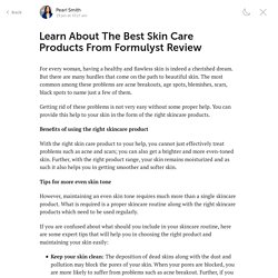 Learn About The Best Skin Care Products From Formulyst Review