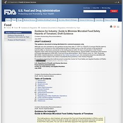 FDA - JUILLET 2009 - Guidance for Industry: Guide to Minimize Microbial Food Safety Hazards of Tomatoes; Draft Guidance