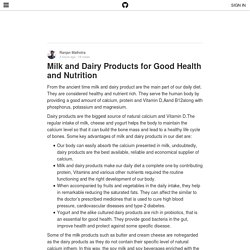 Milk and Dairy Products for Good Health and Nutrition