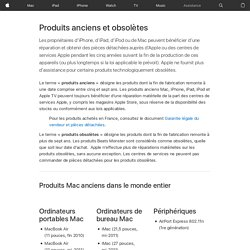 Produits anciens et obsolètes Apple Os x iOS