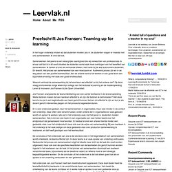 Proefschrift Jos Fransen: Teaming up for learning