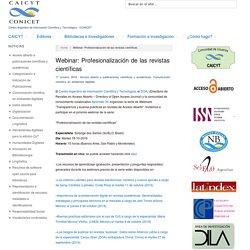 Webinar: Profesionalización de las revistas científicas