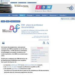 Réforme du Bac et EMI - [Espace Doc Web]
