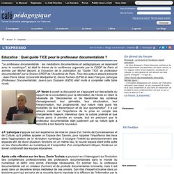 Educatice : Quel guide TICE pour le professeur documentaliste ?