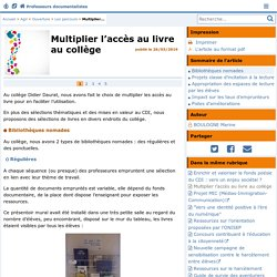 Multiplier l'accès au livre au collège - Doc'Poitiers - Le site des professeurs documentalistes