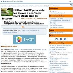 TACIT pour élèves renforcer stratégies de lecteurs - Doc'Poitiers - Le site des professeurs documentalistes