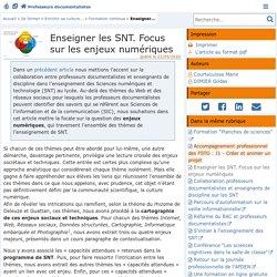 Enseigner les SNT. Focus sur les enjeux numériques - Doc'Poitiers - Le site des professeurs documentalistes