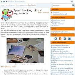Speed-booking : lire et argumenter - Doc'Poitiers - Le site des professeurs documentalistes