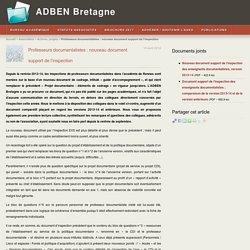 Professeurs documentalistes : nouveau document support de l'inspection - ADBEN Bretagne