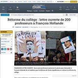 Réforme du collège : lettre ouverte de 200 professeurs à François Hollande