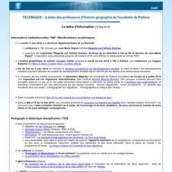 TELEMAQUE : la lettre des professeurs d'histoire géographie de l'académie de Poitiers - lecture d'un message