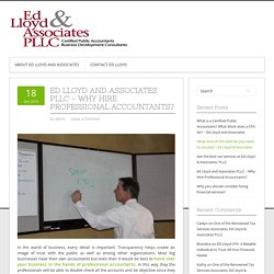 Ed Lloyd and Associates PLLC – Why Hire Professional Accountants?