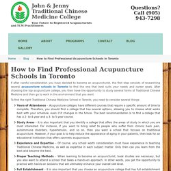How to Find Professional Acupuncture Schools in Toronto