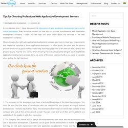 Tips for Choosing Professional Web Application Development Services -
