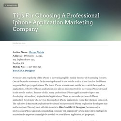 Tips For Choosing A Professional Iphone Application Marketing Company
