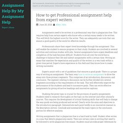 How to get Professional assignment help from expert writers ~ Assignment Help By My Assignment Help