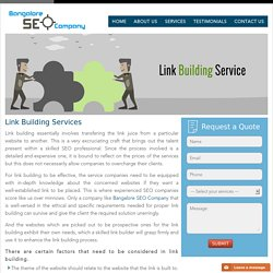SEO Link Building Services - Professional Backlink services in Bangalore