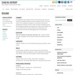 Professional Resume Of Web Designer U0026 Front End Developer Chad Ostroff