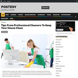 Tips From Professional Cleaners To Keep Your House Clean - Postesy