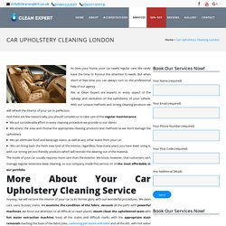 Car Upholstery Cleaning London by Professional Cleaners - CleanExpert