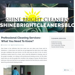 Professional Cleaning Services- What You Need To Know?