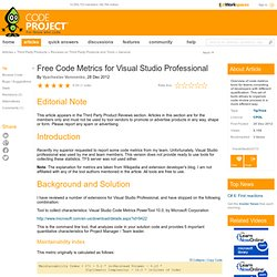 Free Code Metrics for Visual Studio Professional