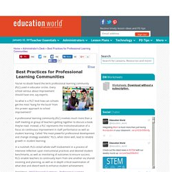 Best Practices for Professional Learning Communities