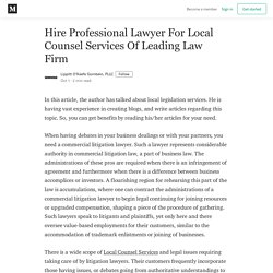 Hire Professional Lawyer For Local Counsel Services Of Leading Law Firm