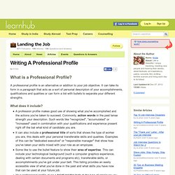 Writing A Professional Profile   Jobs U0026 Career Counselling  Profile Writing