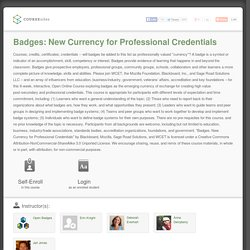 Course: BadgeMOOC: Badges: New Currency for Professional Credentials