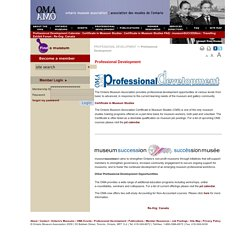 Professional Development: Ontario Museum Association (OMA)