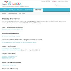 Project ENABLE- professional online development for teachers, librarians