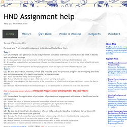 HND Assignment help: Personal and Professional Development in Health and Social Care Work