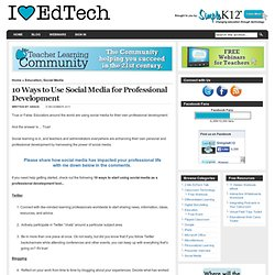 10 Ways to Use Social Media for Professional Development