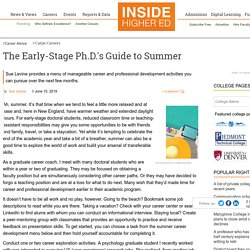 Professional development and careers activities Ph.D. students can pursue over the summer (opinion)
