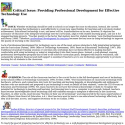 Providing Professional Development for Effective Technology Use