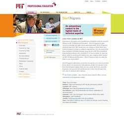 Short Programs - MIT Professional Education
