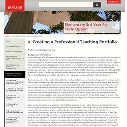 a. Creating a Professional Teaching Portfolio
