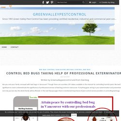 Control Bed Bugs Taking Help of Professional Exterminators