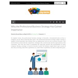 Why the Professional Business Strategy Has Gained Importance - College Admissions Web