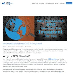 Why Professional SEO Services Are Important For You