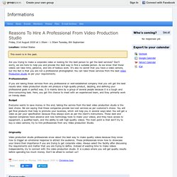 Reasons To Hire A Professional From Video Production Studio