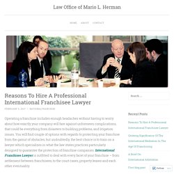 Reasons To Hire A Professional International Franchisee Lawyer