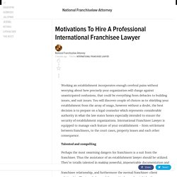 Motivations To Hire A Professional International Franchisee Lawyer